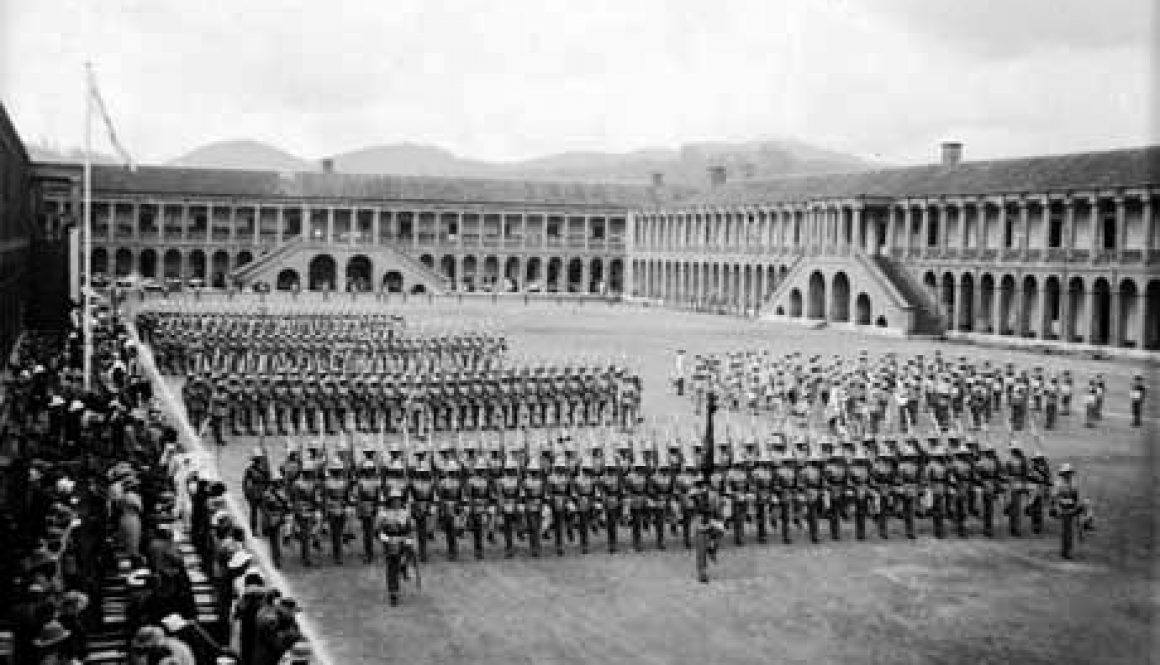 1st-Battalion-Kings-Own-Royal-Regiment-Wellington-Southern-India-mid-1930s.-Parade-at-Wellington-Barracks.
